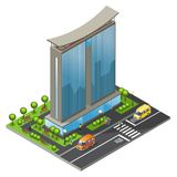 Isometric Office Building Concept. With modern business skyscraper moving cars people road and trees isolated vector illustration Royalty Free Stock Images