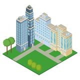 Isometric office buildings. With park vector illustration graphic design Royalty Free Stock Image