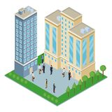 Isometric office buildings. With park vector illustration graphic design Royalty Free Stock Photos