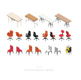 ISOMETRIC OFFICE CHAIRS and DESKS Royalty Free Stock Image