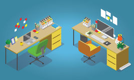 Isometric office concept  illustration. Workplaces interior set. Office table, modern chair, desktop computer, lamp, trash basket books, keyboard Stock Photography