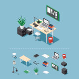 Isometric office desk. Office workplace vector isometric concept illustration. Work table composition plus collection of isometric objects: table, chair, books Stock Photo