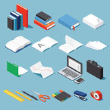 Isometric office equipment set Royalty Free Stock Image