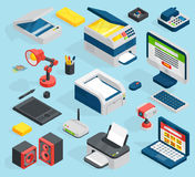 Isometric office equipment technics vector vector illustration