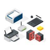 Isometric office equipment vector Stock Photography