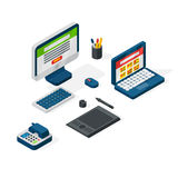 Isometric office equipment vector Royalty Free Stock Photography