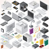 Isometric Office Equipments and Interior Items. Vector Collection. Set of Electronic Equipments, Workplace Supplies, Computers and Devices etc Royalty Free Stock Images