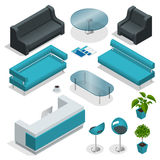 Isometric office furniture collection Royalty Free Stock Photos