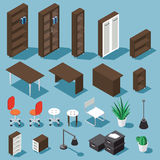 Isometric office furniture set. Isometric dark brown office furniture set. Collection includes tables, shelves, bureau, cabinet, locker, lamps, chairs Royalty Free Stock Photography