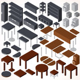 Isometric Office Furniture. Vector Collection Royalty Free Stock Photography