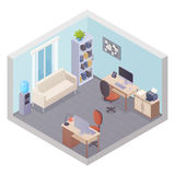 Isometric Office Interior With Two Workplaces. Stuff cabinet cooler table with printer and sofa for visitors vector illustration Stock Photo