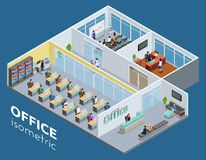 Isometric Office Interior View Poster Royalty Free Stock Photos