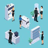 Isometric office life concept. 3d office with workers, furniture and equipment. File cabinet, photocopier, cabinet with folders, water cooler, office kitchen Royalty Free Stock Photo