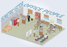 Isometric office with peopl Royalty Free Stock Photo