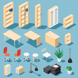 Isometric office set. Isometric light brown office furniture set. Collection includes tables, shelves, bureau, cabinet, locker, lamps, chairs, houseplants, paper Royalty Free Stock Photography