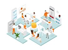 Isometric office team. royalty free illustration