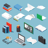 Isometric office tools set. Paper, books, folder, pen and pencil, glasses, laptop, case, diagram, open book and notebook and board. Collection for your Stock Photography