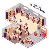 Isometric Office Workplaces Illustration. Isometric style composition with three office rooms environment workplaces with furniture machinery clients and Stock Photography