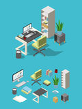 Isometric office workspace with different furniture and elements. Table, chair and computer, lamp and flowers Royalty Free Stock Photos
