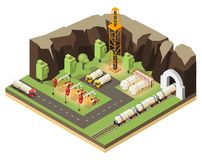 Isometric Oil Extraction Concept. With drilling rigs petroleum transportation and barrels isolated vector illustration royalty free illustration