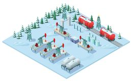 Isometric Oil Extraction Plant Template royalty free illustration