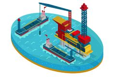 Isometric Oil Extraction In Sea Concept. With water platform and ships for petroleum transportation isolated vector illustration royalty free illustration