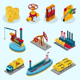 Isometric Oil Industry Elements Collection. With barrels pipeline fuel station canister factory drilling rig truck ship tankers isolated vector illustration vector illustration