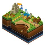 Isometric Oil And Mining Industry Concept. With derricks gas rig rail gasoline tankers dump trucks working in quarry vector illustration royalty free illustration