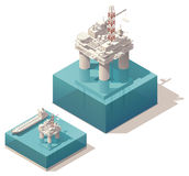 Isometric oil platform. Vector isometric oil rig with tank ship vector illustration