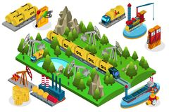 Isometric Oil Production Composition. With extraction refining different ways of transportation using and storage isolated vector illustration royalty free illustration