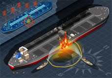 Isometric Oil Tanker Fire Disaster in Rear View Royalty Free Stock Photography