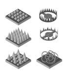 Isometric oklepiec dla gry Oklepowie ustawiający Set dla gry Gra krajobraz Obrazy Stock