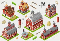 Isometric Old Building - American Barn Set Tiles Stock Photos