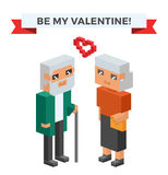 Isometric old family couple in love celebrate Royalty Free Stock Photo