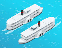 Isometric Old paddle steamer ship on the river. Water transport. Riding on the river. Flat 3d illustration. For. Infographics and design Stock Image