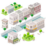 Isometric Old town. City buildings, river with the bridge, cafe, hotel and shop. Set of the vector elements Stock Photos