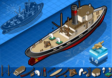 Isometric old tugboat Stock Photo