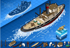 Isometric old tugboat in navigation in rear view Royalty Free Stock Photography