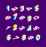Isometric olored numbers 3d. Three-dimensional alphabet. Low poly 3d characters. Vector illustration.  vector illustration