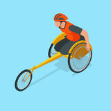 Isometric Olympic sports for peoples with disabled activity. Vector illustration paralympics player Royalty Free Stock Photo