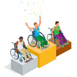 Isometric Olympic sports for peoples with disabled activity. Vector paralympic athletes Stock Photos