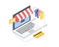 Isometric online clothes store.Online shopping and consumerism concept.3D Vector illustration Stock Photo