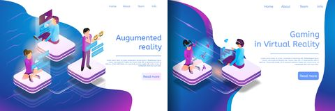 Isometric Online Communicating, Virtual Gaming. Banner Set Illustration Gaming in Virtual Reality, Augumented Reality. Chat census. People Wearing Virtual royalty free illustration