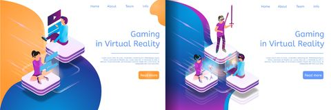 Isometric Online Communicating, Virtual Gaming stock illustration
