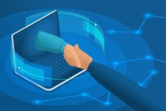 Isometric online conclusion of the transaction between large companies, partnership. Concept for web design.  stock illustration