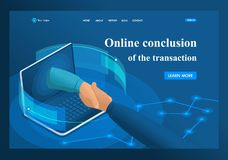 Isometric online conclusion of the transaction between large companies, partnership. Template landing page.  vector illustration