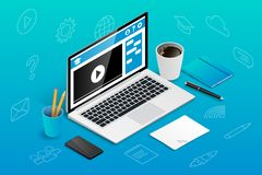 Isometric online education banner icons royalty free illustration