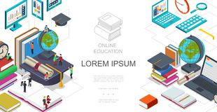 Isometric Online Education Template vector illustration