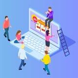 Isometric online gambling, casino, slot machine isometric vector illustration. Online casino for luck people, win jackpot in game stock illustration
