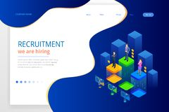 Isometric online job search and human resource, recruitment concept. We are hiring. Presentation for employment and. Infographics for recruiting. Template stock illustration